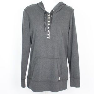 Puma gray button up pull over drawstring hoodie